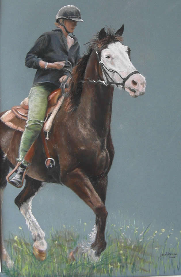 Horse and Horseback Rider | Pastel Painting